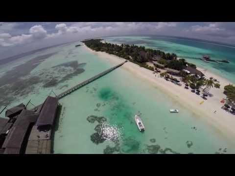 Aerial Views of tropical island in the Maldives