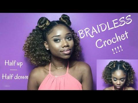 BRAIDLESS CROCHET !! – HALF UP HALF DOWN || Jamaican Bounce Crochet Braiding Hair