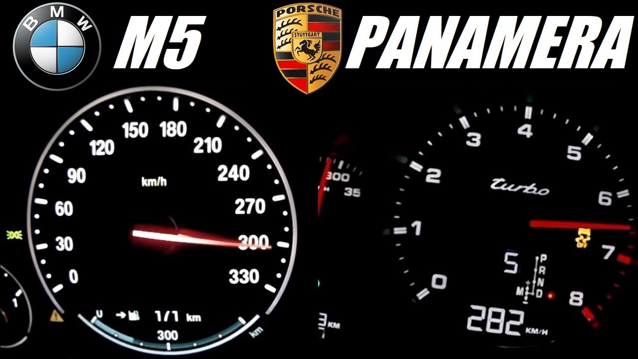 ☆ BMW M5 (560hp) vs Porsche Panamera Turbo (550hp) 0-300 kph ...