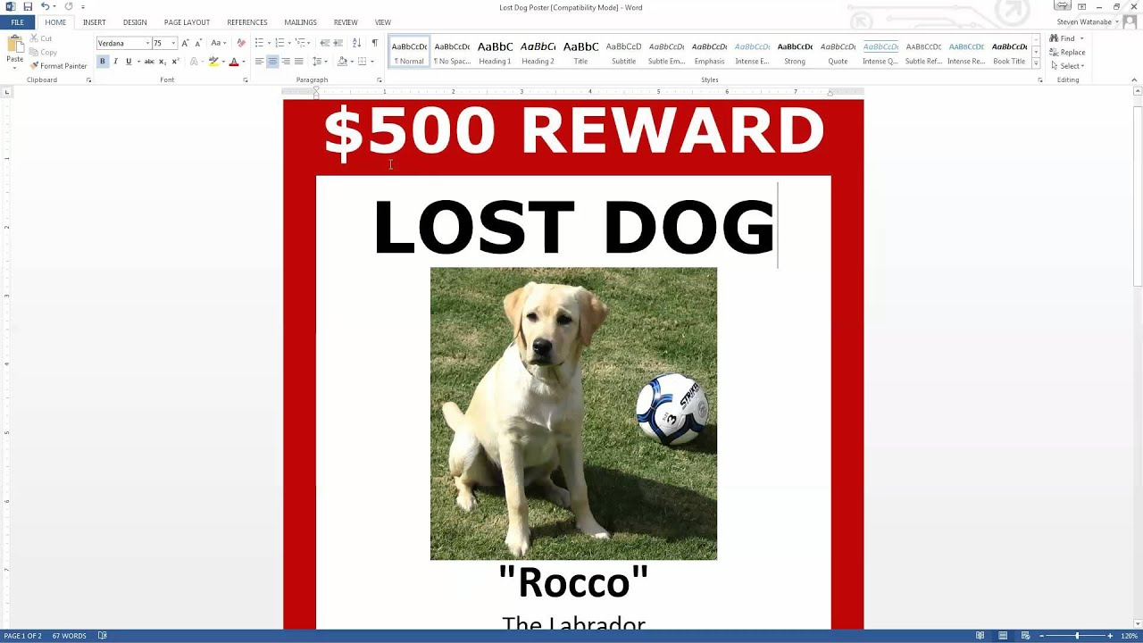 Attractive Lost Dog Poster Template FREE Download (MS Word) To Lost Dog Poster Template