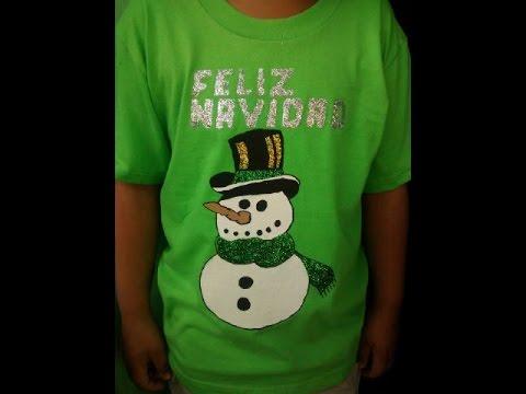 Como Decorar Una Camiseta De Navidad.Como Pintar Una Camisa Navidad