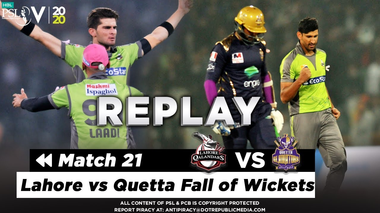 Lahore vs Quetta Fall of Wickets | Lahore Qalandars vs Quetta Gladiators | Match 21 | HBL PSL 2020