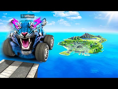 Jumping YOUTUBER CARS Across ENTIRE MAP In GTA 5.. (Mods)