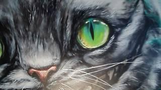 Видео росписи стены паба Чеширский кот