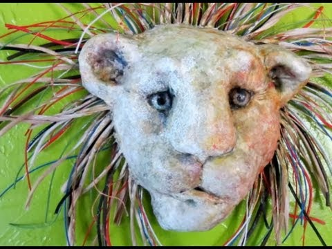 Paper Mache Lion Display Mask With Wire Mane Youtube