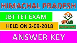 hp jbt tet exam held on 2 september 2018 answer key #hpgk / hpgk / hp gk 2018