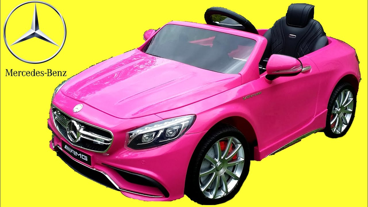 pink mercedes s63 amg kids ride on walkaround 12v power