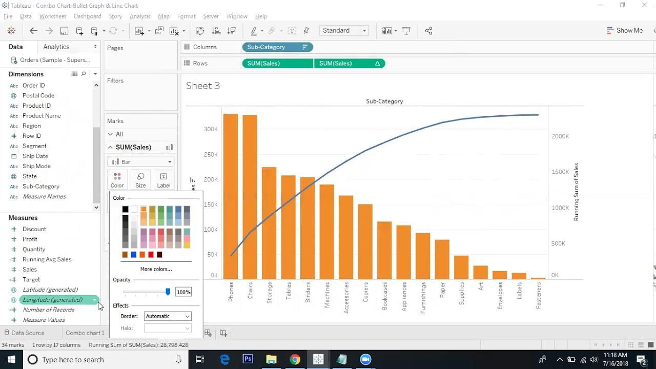 Tableau Custom Charts Pareto Chart Youtube
