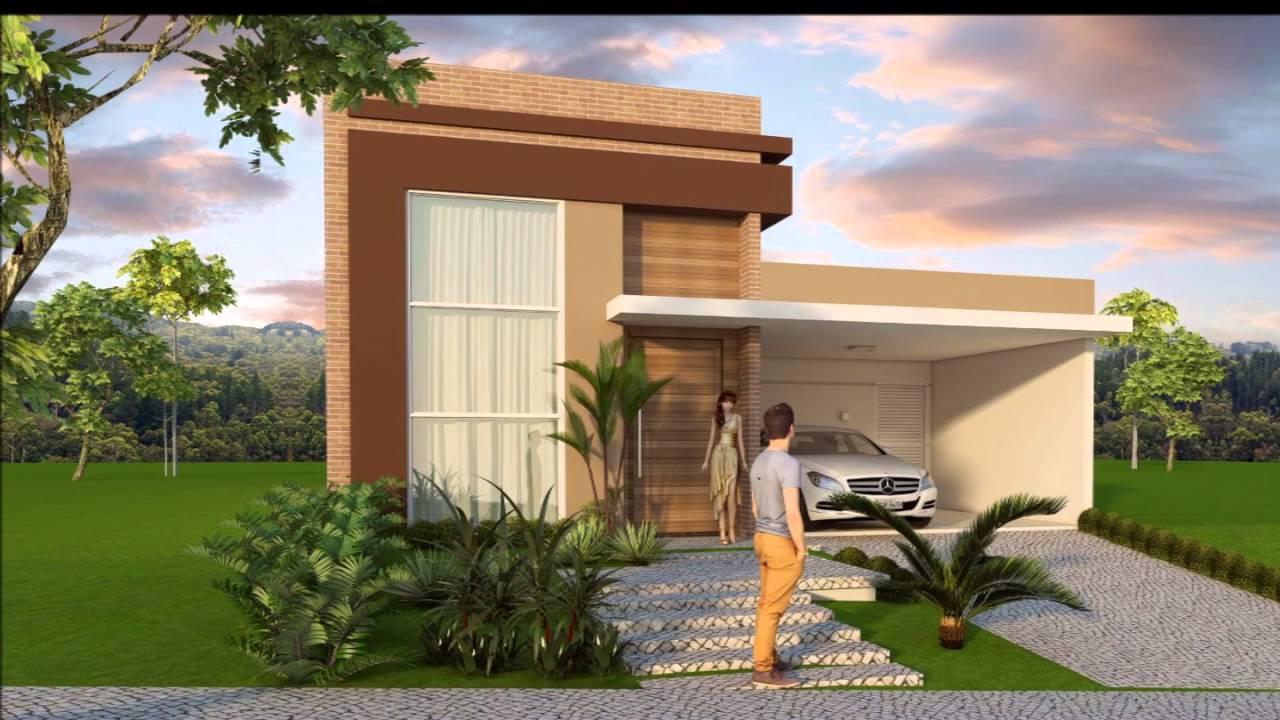 Projeto casa terrea 03 suites fachada arquitetura moderna for Fachada de casas