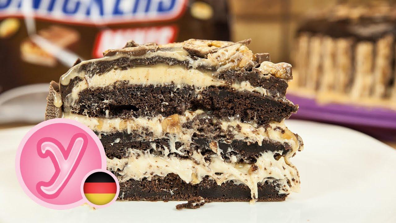 Foodporn Schokoladiger Snickers Kuchen Mit Marshmallow Fluff Und