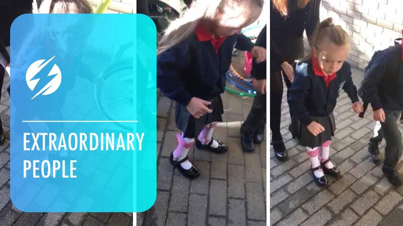 Девојче со церебрална парализа храбро прави чекори за да влезе во градинка