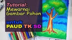 Menggambar Dan Mewarnai Pohon Dengan Crayon Oil Pastel