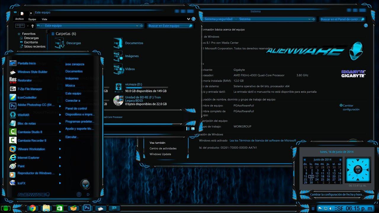 Tema Alienware Premium para Windows 8 y 8.1 - YouTube
