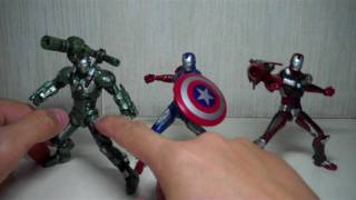 Iron Man 2 Concept Series Advanced Tactical Armor   Omega Factor   Vibranium   Bio Metal   Heavy Metals 3 pack K Mart exclusive