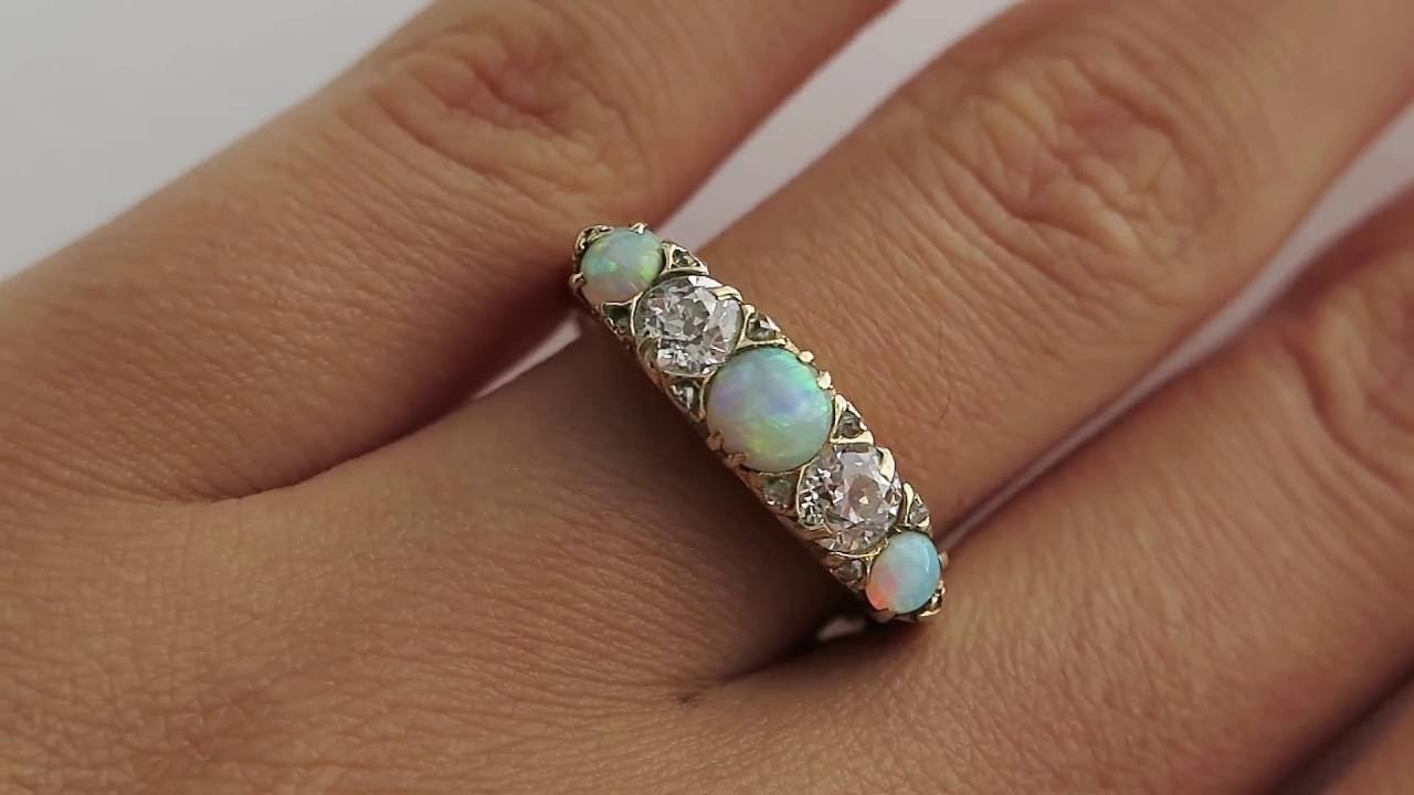 Victorian Antique Opal And Old Diamond Engagement Wedding Ring, Anniversary  Five Stone Band