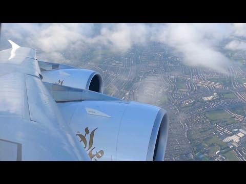 Emirates EK003 A380 Landing into London Heathrow Airport | 2017-Apr-25