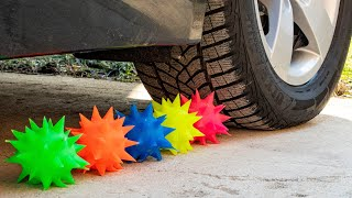 Crushing Crunchy & Soft Things by Car! EXPERIMENT CAR vs Spike Ball