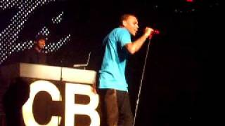 Chris Brown Sings (acapella) brown skin girl, take my time, famous girl, and sing like me.