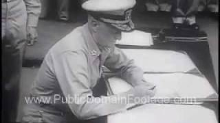 Japanese Sign Final Surrender 1945 Newsreel PublicDomainFootage.com