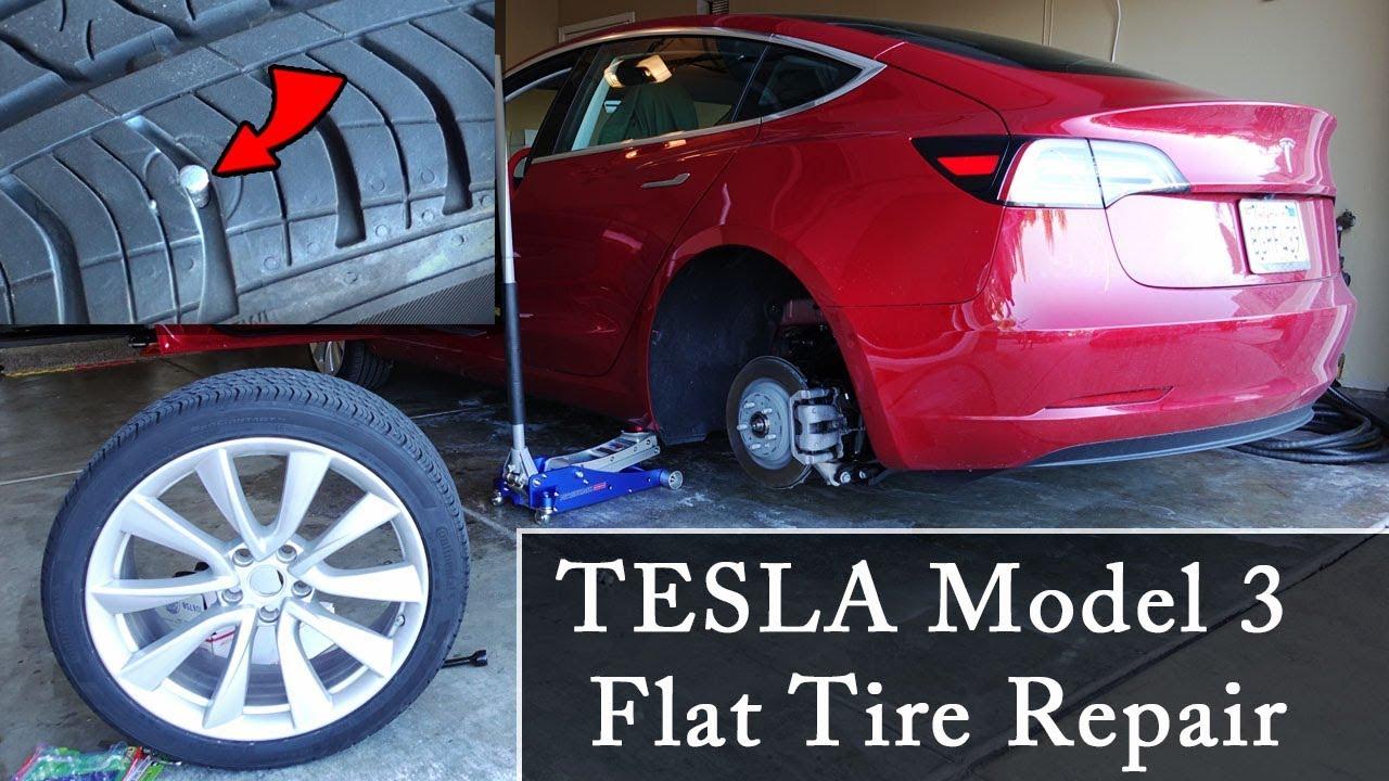 Tesla Model 3 Flat Tire Repair - YouTube