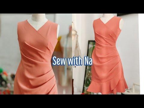 Sew with Na : Thiết kế đầm xếp ly sườn - đuôi cá duyên dáng xinh đẹp - hướng dẫn chi tiết cắt may