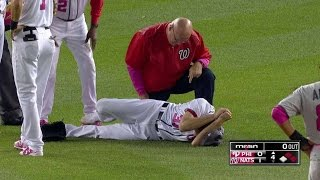 PHI@WSH: Scherzer goes down after hit to the knee