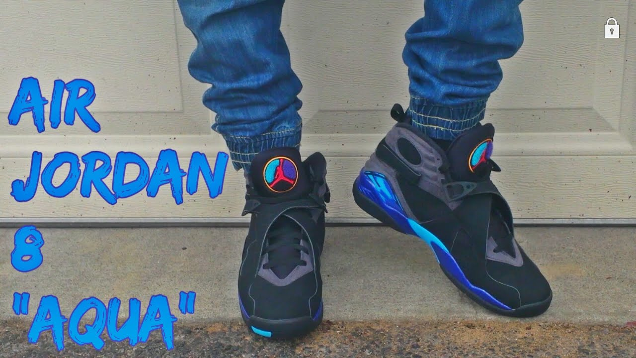 air jordan 8 aqua on feet
