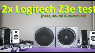 2x Logitech Z3e 2.1 speakers bass + subwoofer excursion test