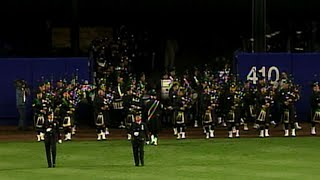 NYPD Pipers perform during Shea ceremony