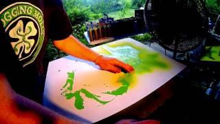 "Multi Layer Stencil On Canvas. ""Yoda"""