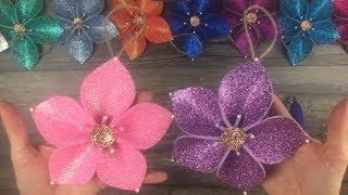 DIY:  How to make Christmas tree flower ornaments