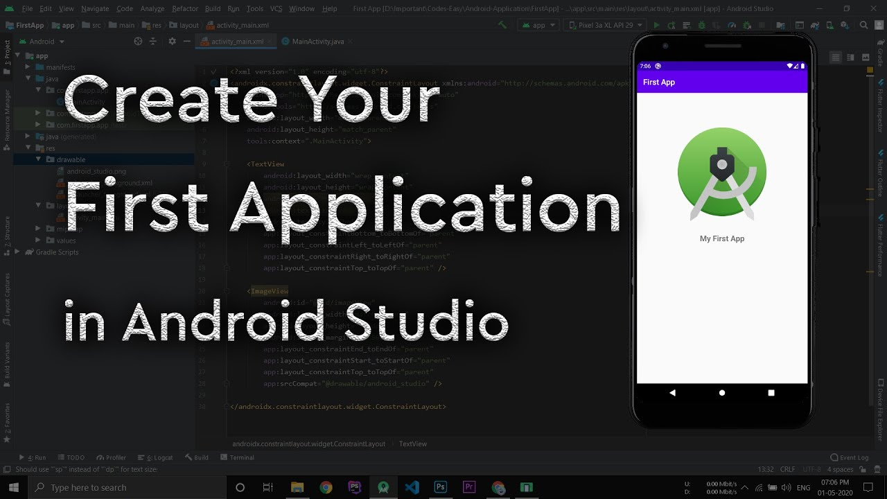 Creating First Application In Android Studio Youtube