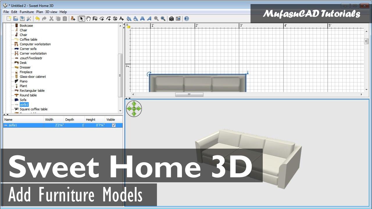Sweet Home 3d Add Furniture Models Youtube