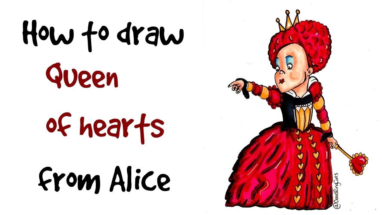 How To Draw The Queen Of Hearts  Alice In Wonderland  Disney  Tim Burton
