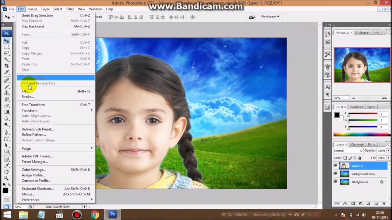 How to change background in photoshop cs3 extended