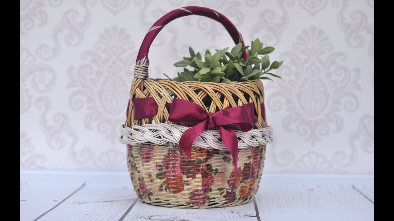 Decoupage Tutorial How To Decorate Wicker Basket Diy Tutorial By