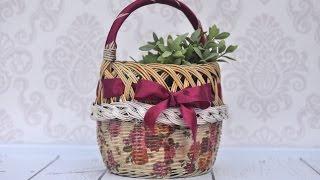 Decoupage tutorial -  how to decorate wicker basket - DIY  tutorial By Catherine
