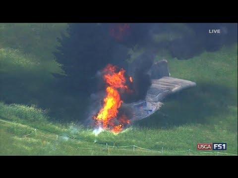 Fiery blimp crash near US open golf tournament