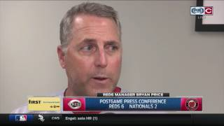 Cincinnati Reds skipper Bryan Price says Gennett provides instant offense, credits Feldman for start