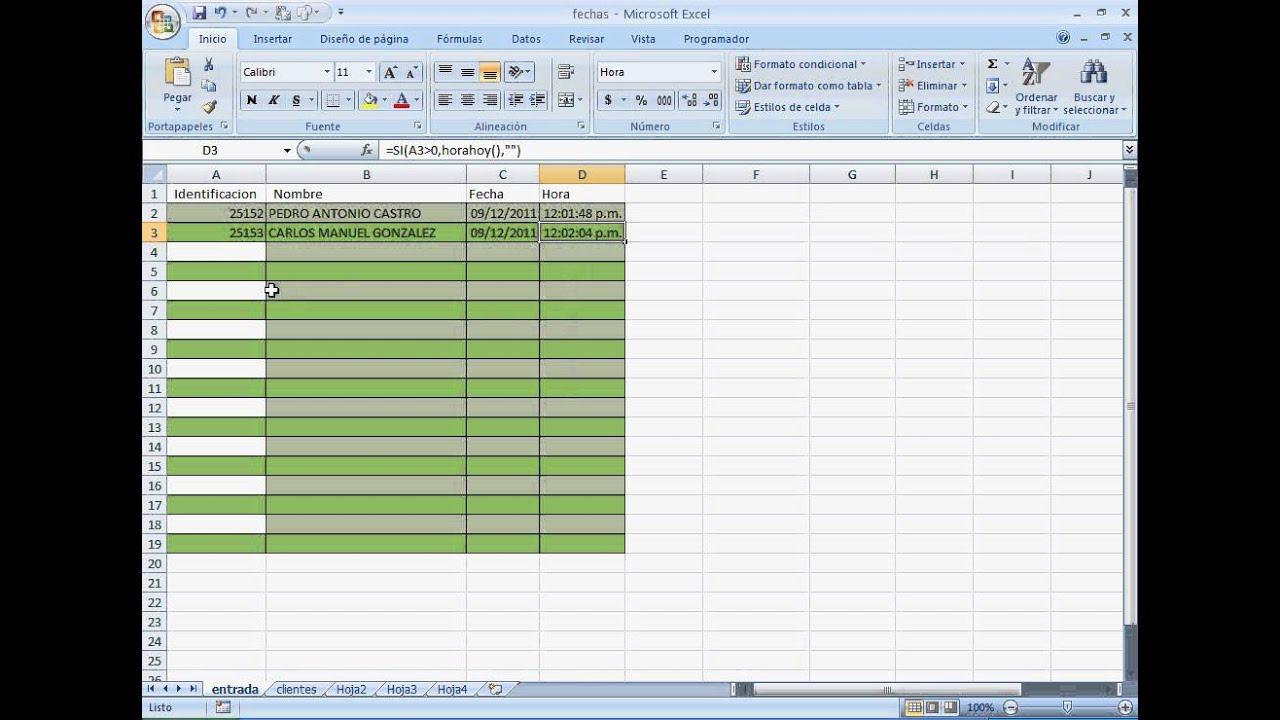 planilla de control de acceso usando excel - sencilla y rapida