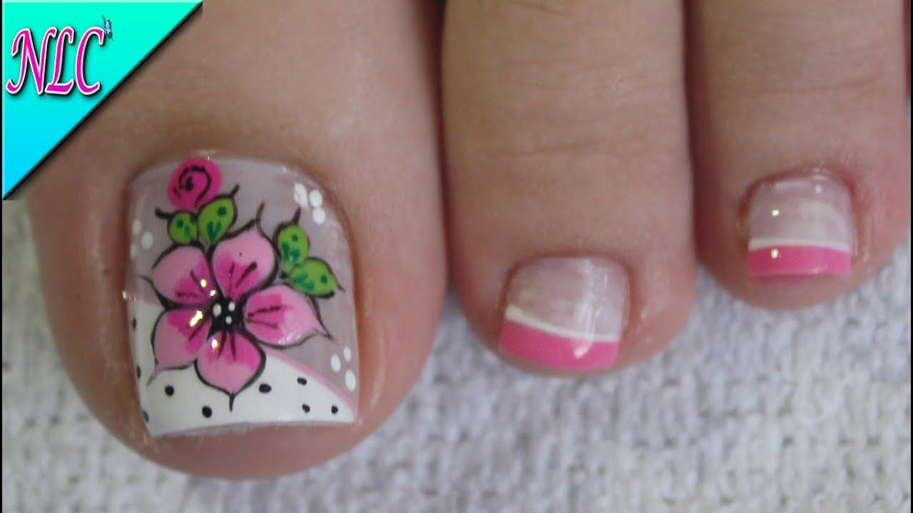 Diseño De Uñas Para Pies Flor Y Francés Flowers Nail Art French Nail Art Nlc