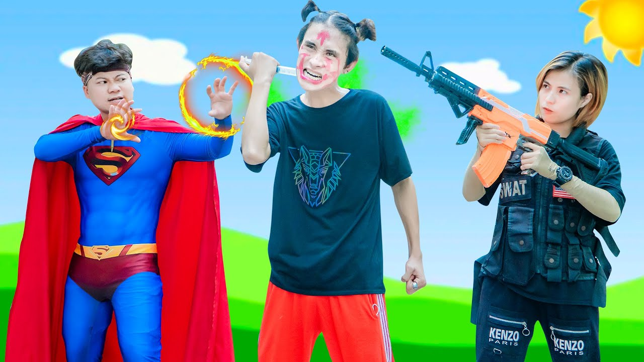 XGirl Nerf War: Doctor Transforming Zombies & SWATk Candy Nerf Guns Squad Man Fight Superman In Real