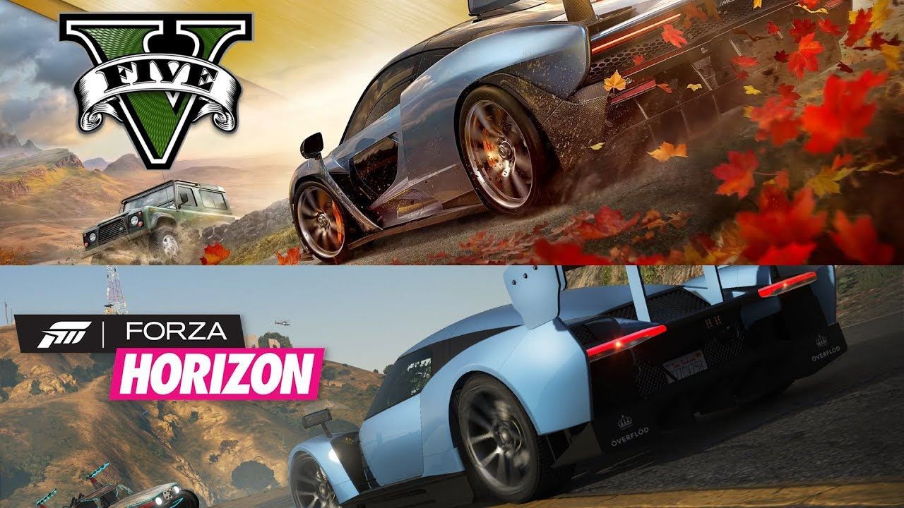 Forza Horizon 4 vs GTA 5! Side-by-side Forza Horizon 4 Trailer Remake in  GTA 5!