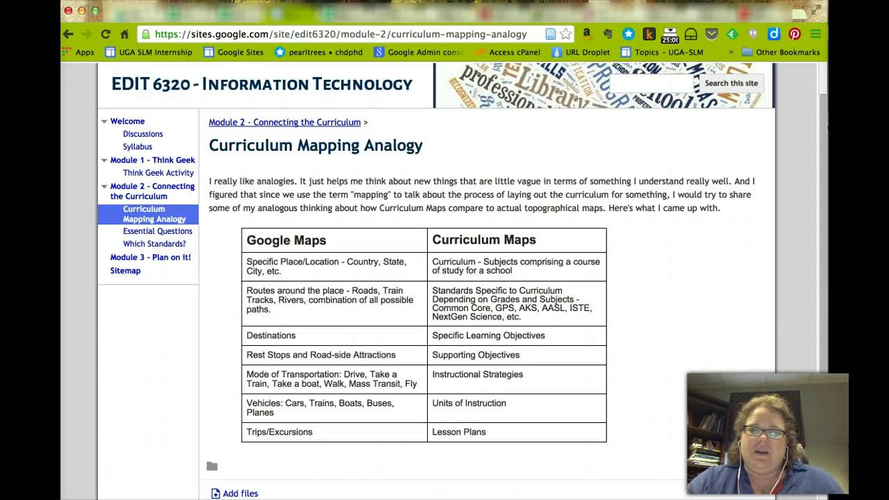 Curriculum Mapping Analogy - EDIT 6320 - Information Technology
