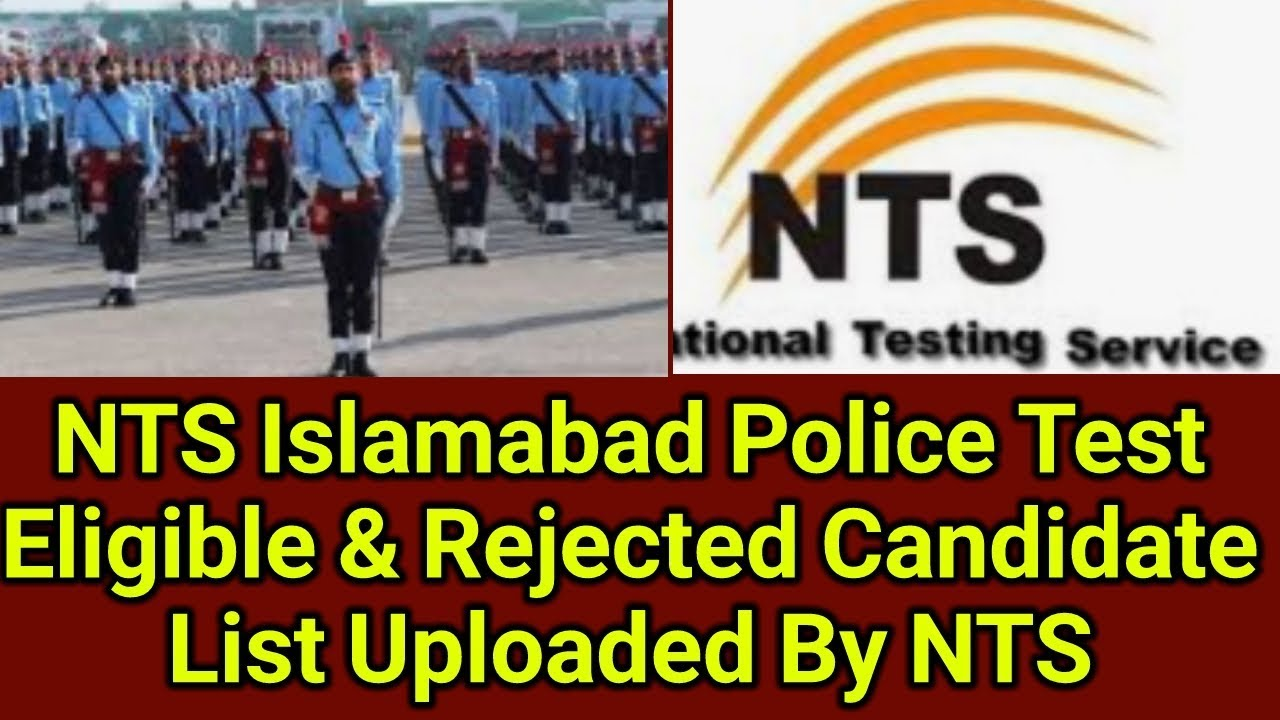 Islamabad Police Jobs 2019 NTS Uploaded Eligible & Rejected Candidate List
