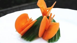 Art In Carrot Butterfly - Vegetable Carving Garnish - Party Garnishing - Food Decoration