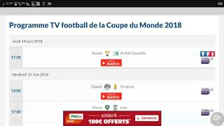 Programme TV football de la Coupe du Monde 2018 TF1