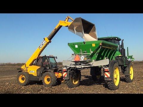 Műtrágyaszórás 2018 - John Deere R4030 + DN 456 + JCB   Spreading Fertilizer 2018