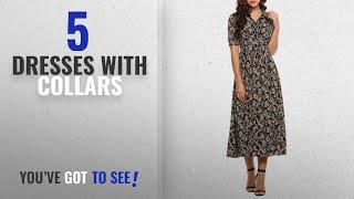 Top 10 Dresses With Collars [2018]: ACEVOG Women's Vintage Style Peter Pan Collar Short Sleeve
