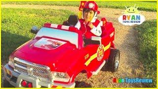 Paw Patrol Marshall Fire Engine Ride On Car Rescue Pretend Play!